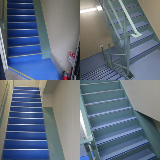 鉄骨階段もお洒落に企業カラーで!
