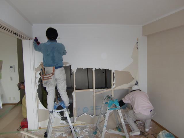 リフォーム大阪市阿倍野区 間仕切り壁撤去・木製建具設置